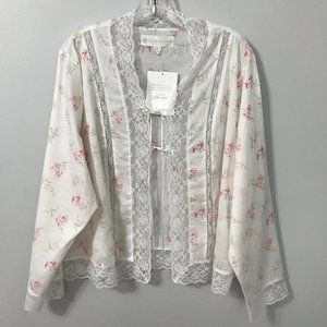 Eileen West White Floral Tie-Front Pajama Cardigan